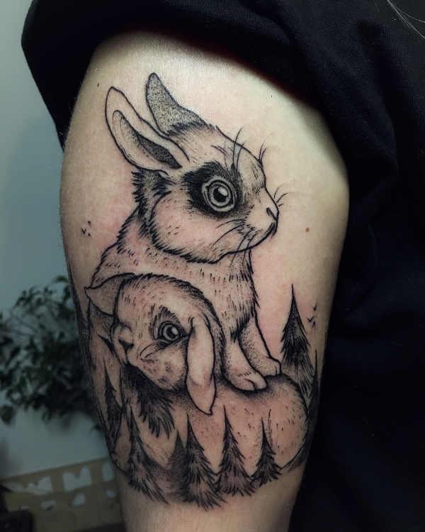 Betekenissen & inspiratie Dieren  Konijn tattoo: betekenis en 40x tattoo-inspiratie